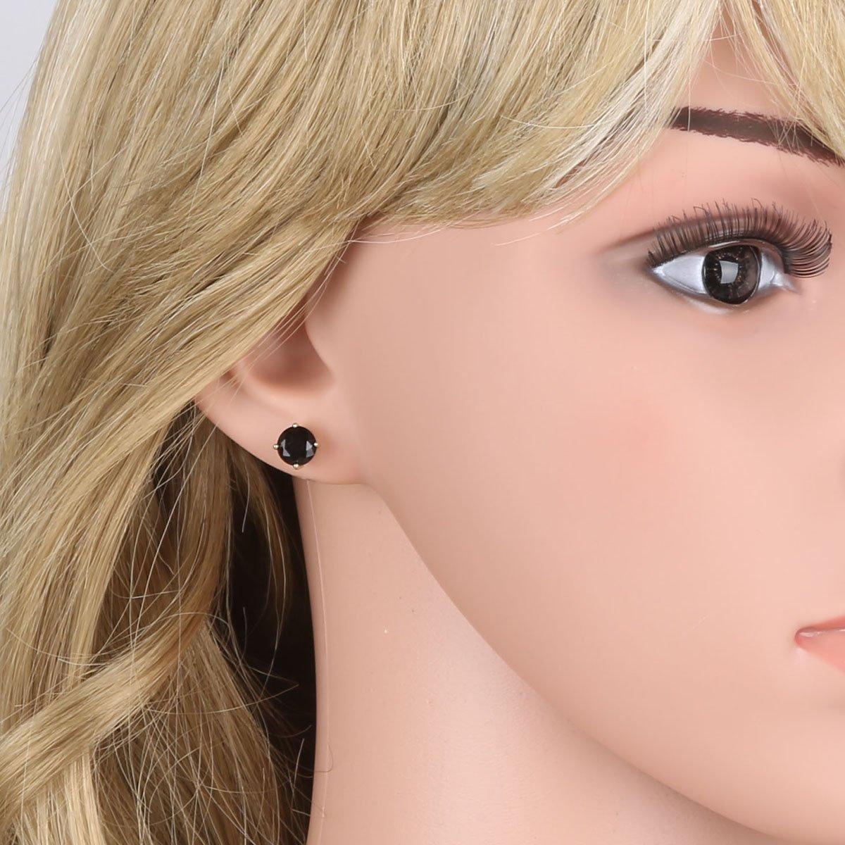 14K Gold Plated Simple Black Rhinestone Stud Earrings Cubic Zirconia for Women Girls Jewelry