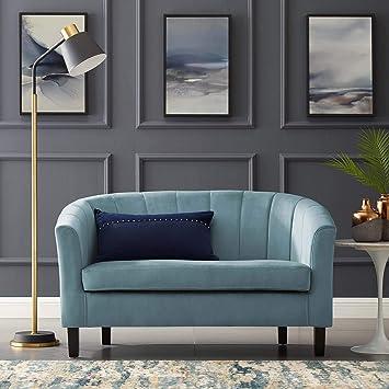 Modway Prospect Channel Tufted Upholstered Velvet Loveseat, Light Blue
