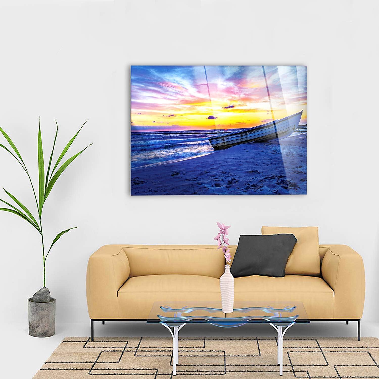 Coucher de Soleil avec Bateau en Bord de mer Cadre d/éj/à encadr/é 70x50 cm Giallobus Vari formati XXL Impression sur Toile Canvas Tableaux Modernes pour Meubles de Maison
