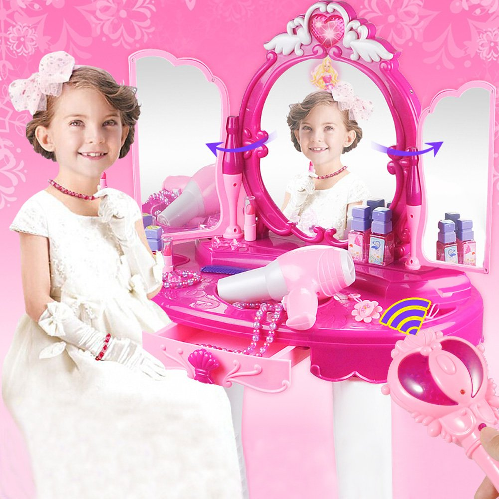 Cocoarm Girls Dressing Table, Kids Vanity Table Chair Beauty Play Set, Princess Make Up Vanity Table Girls Toy Makeup Accessories with Stool, Mirror, Hair Dryer by Cocoarm (Image #7)