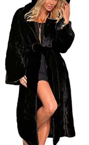 Women's Black Winter Warm Outerwear Parka Maxi Faux Fur Hooded Coat L