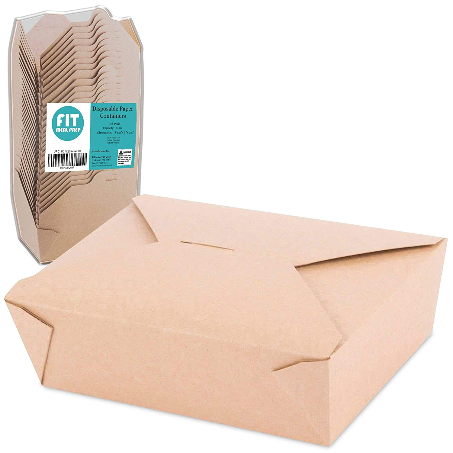 "[36 Pack] 71 oz 8.5 x 6 x 2.5"" Disposable Paper Take Out Food Containers, Microwaveble Folding Natural Kraft to Go Boxes #3"