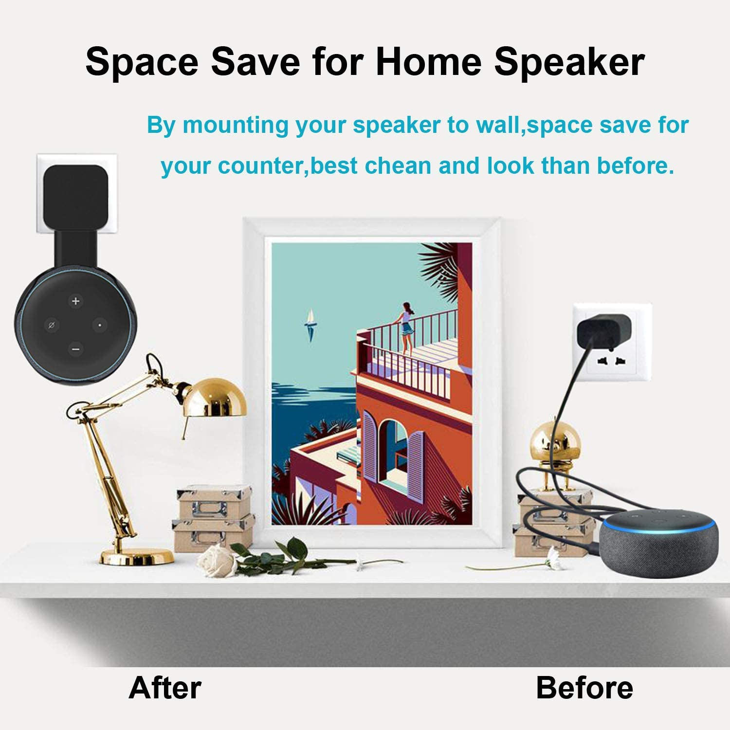 Space Save Accessories Hanger Bracket Case 3rd Gen MTSmart Outlet Wall Mount Holder Stand for Smart Home Speaker Black, 1 Clever Hide Both Adapter and Wires Screwless