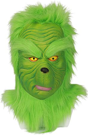 BIRDEU Halloween Grinch Máscara Deluxe Verde látex Casco Cosplay ...