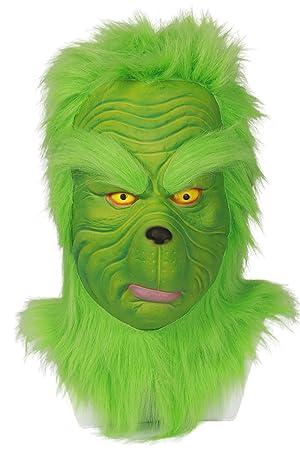 Mesky Grinch Máscara para Navidad en Halloween Christmas Verde Casco de Moto Cabeza Completa con Pelo