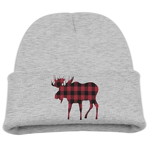 a864e22eaf2 Amazon.com  ZWZ Buffalo Plaid Moose Lumberjack Kid s Hats Winter Funny Soft  Knit Beanie Cap