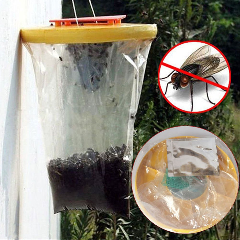 Newly Disposable Fly Attracting Bag Trap Catcher Killer Safe Effective Hanging Insects Pest Control   2pcs
