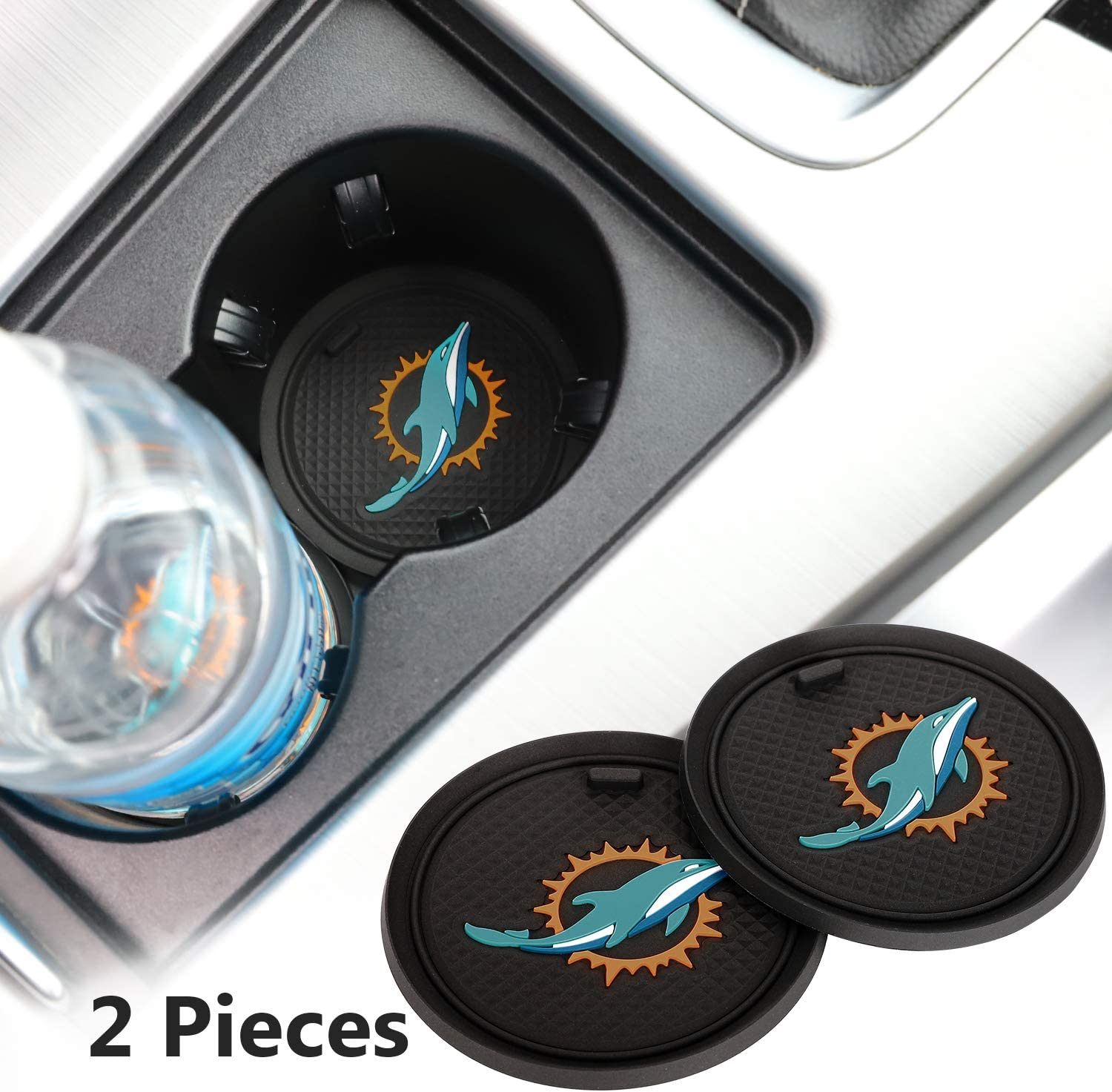 2 Pack 2.75 inch for Miami Dolphins Car Interior Accessories Anti Slip Cup Mat for All Vehicles (Miami Dolphins)