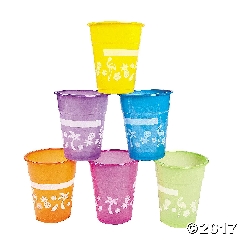 Lot of 50 Plastic Disposable Luau Party 16oz Cups Asst Bright Colors