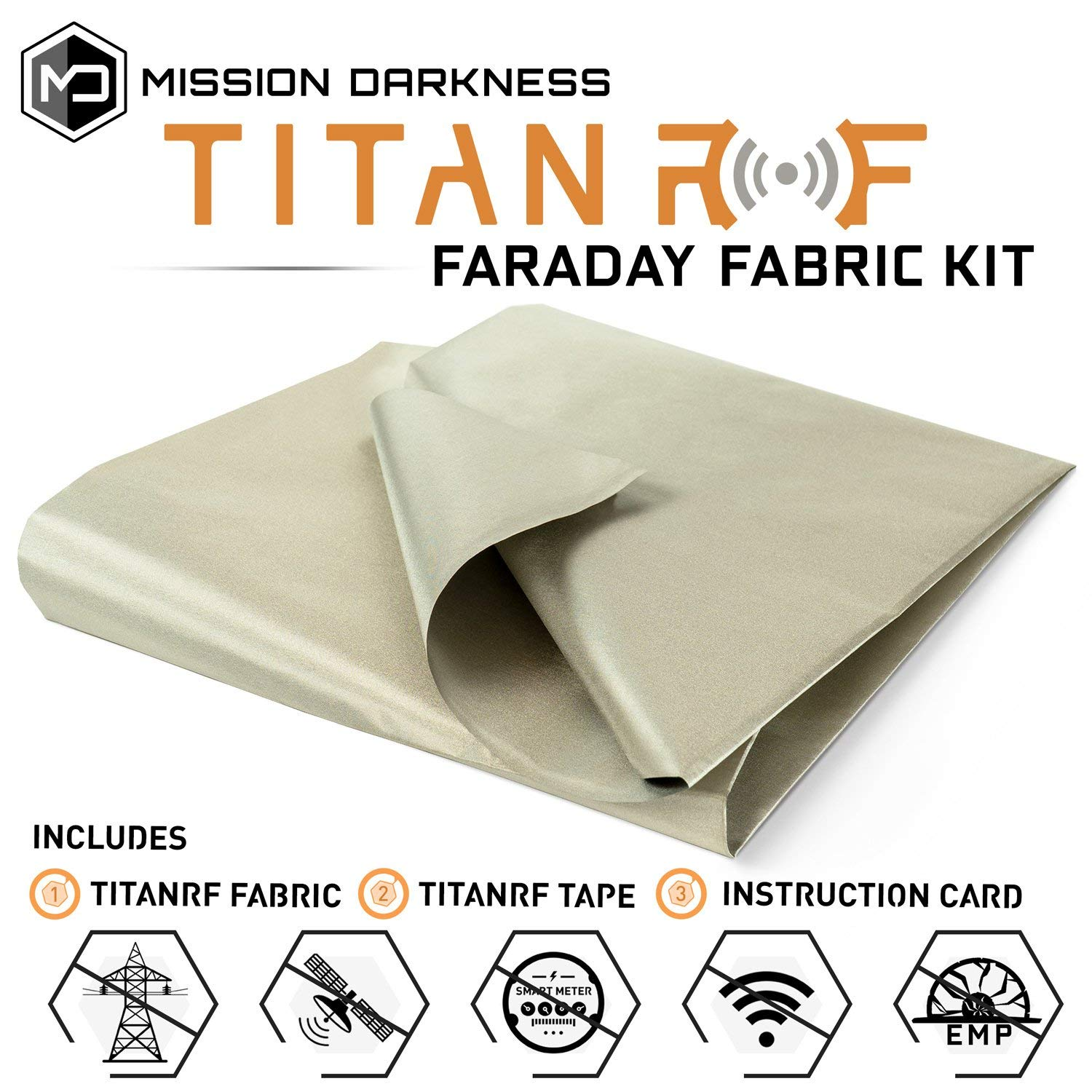 TitanRF Faraday Fabric // EMI & RFID Shielding/Cell, WiFi & Bluetooth Blocking/Military Grade Shielding Fabric (44''W x 36'' L / 11sq ft / 1.22 sq yds) + Free 12'' L Conductive Adhesive Tape by Mission Darkness