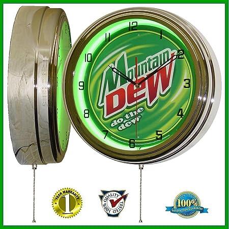 Mountain Dew 15 Neon Light Wall Clock Sign Soda Pop Shop Bottle Logo Vintage Retro Style Green