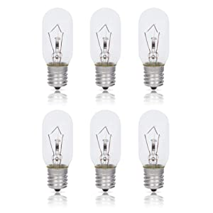 Simba Lighting Microwave Appliance Light Bulb T8 40W (6 Pack) Incandescent with E17 Intermediate Screw Base for Ovens, Under Hood, Stove Top, Range, 110V 120V 125V 130V, Dimmable, 2700K Warm White