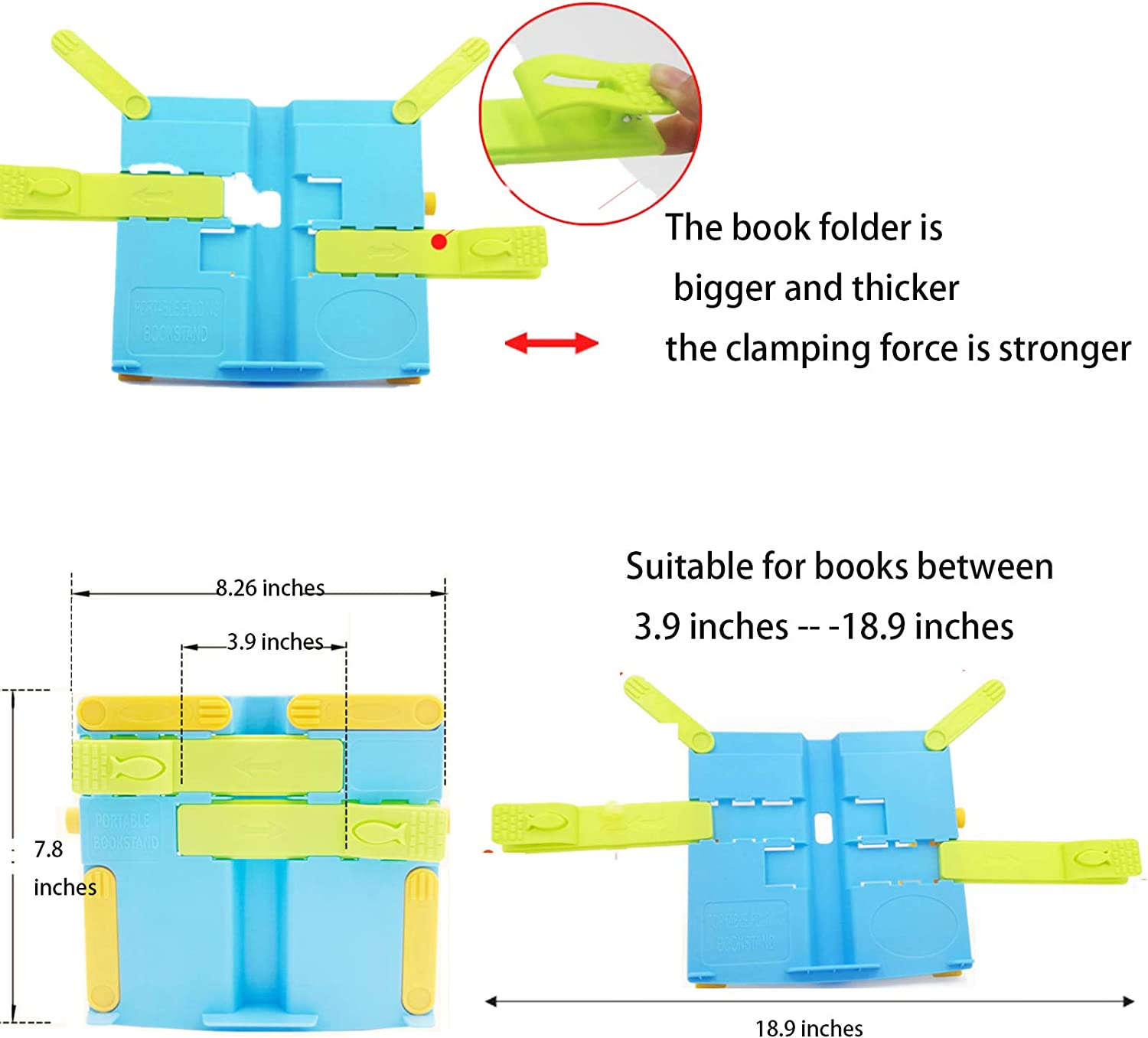 Hands Free Book Stand Flexible Folding Document Holder Adjustable Reading Height