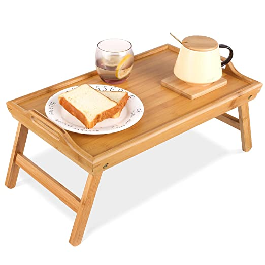 Homfa - Bandeja Plegable de bambú para Mesa o Escritorio, Bandeja ...