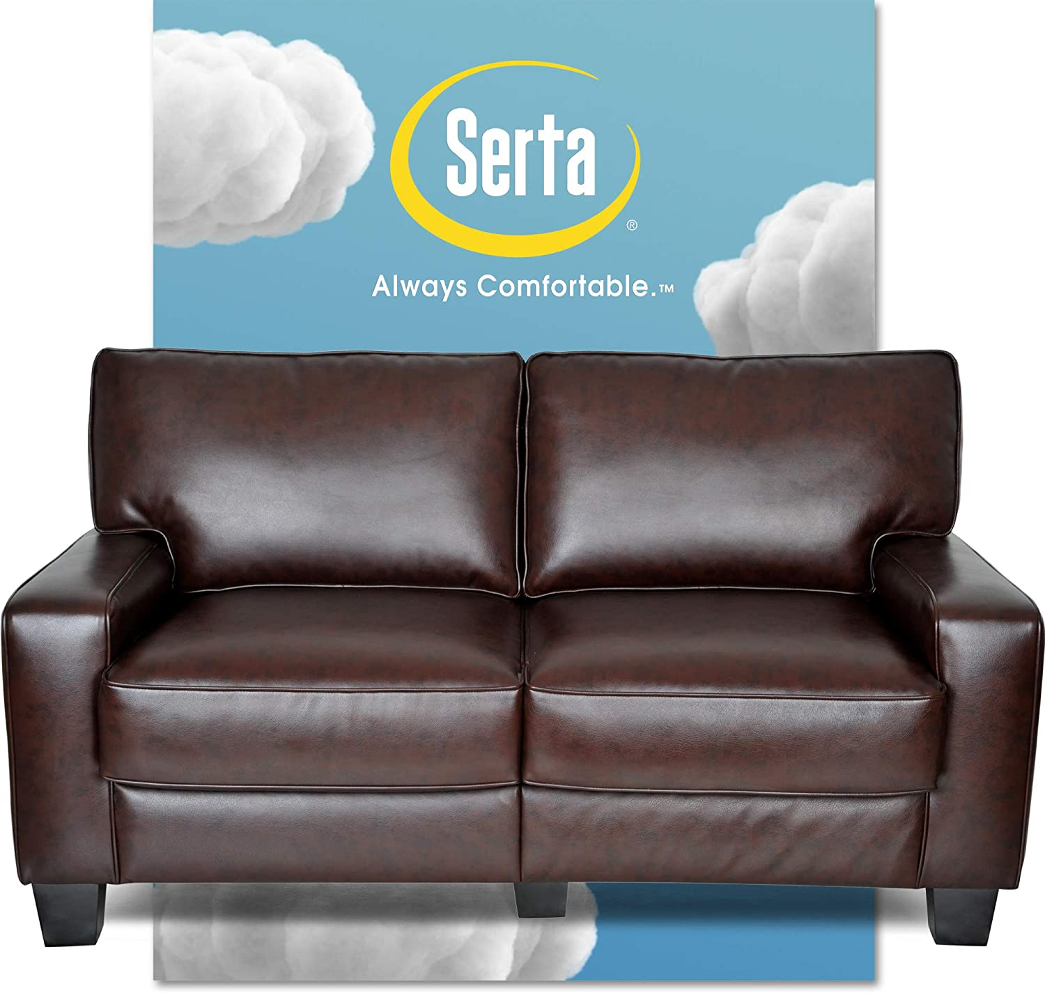"Serta Palisades Upholstered Sofas for Living Room Modern Design Couch, Straight Arms, Soft Fabric Upholstery, Tool-Free Assembly, 61"" Loveseat, Chestnut Brown"
