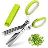 Herb Scissors, X-Chef Multipurpose 5 Blade Kitchen Herb Shears Herb Cutter with Safety Cover and Cleaning Comb for…