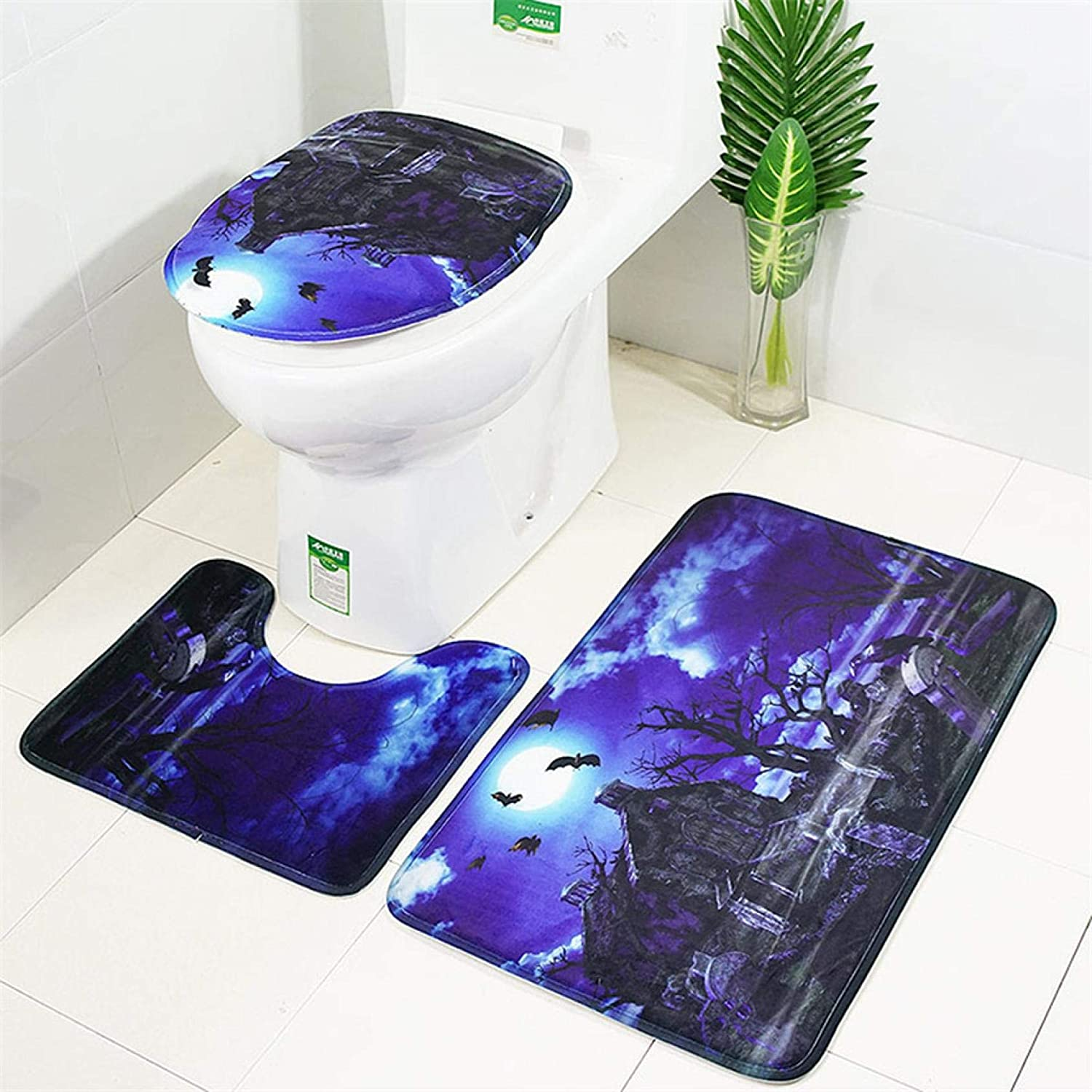 Bath Mat Toilet Lid Cover A Miayilima 3pcs Halloween Decoration Bathroom Rug Set Halloween Cat Pumpkin Bath Mat Toilet Mat Toilet Lid Cover with Non-Slip Rugs