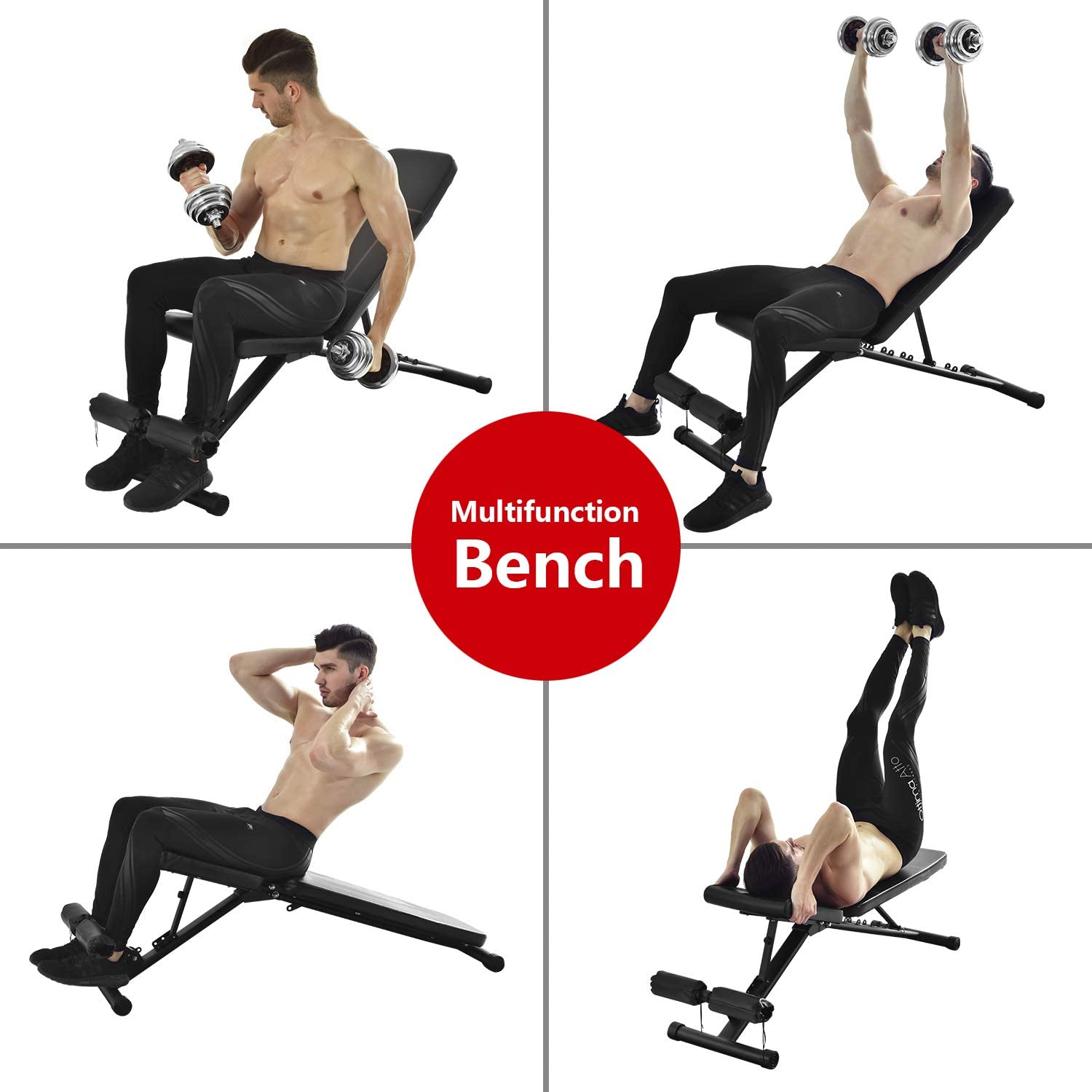 Magic Fit 7 Levels Foldable Weight Exercise Training Bench for Home Gym