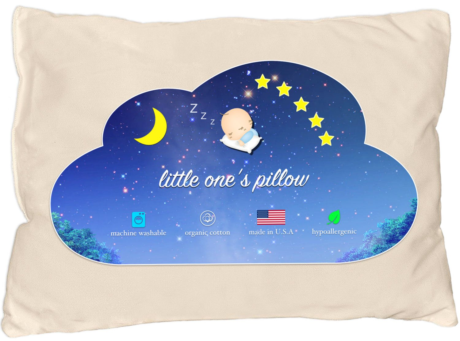 Little One's Pillow - Toddler Pillow, Delicate Organic Cotton Shell, HandCrafted in USA - Soft Yet Supportive, Washable and Hypoallergenic, No Pillowcase Needed, 13 X 18 by Little One's Pillow