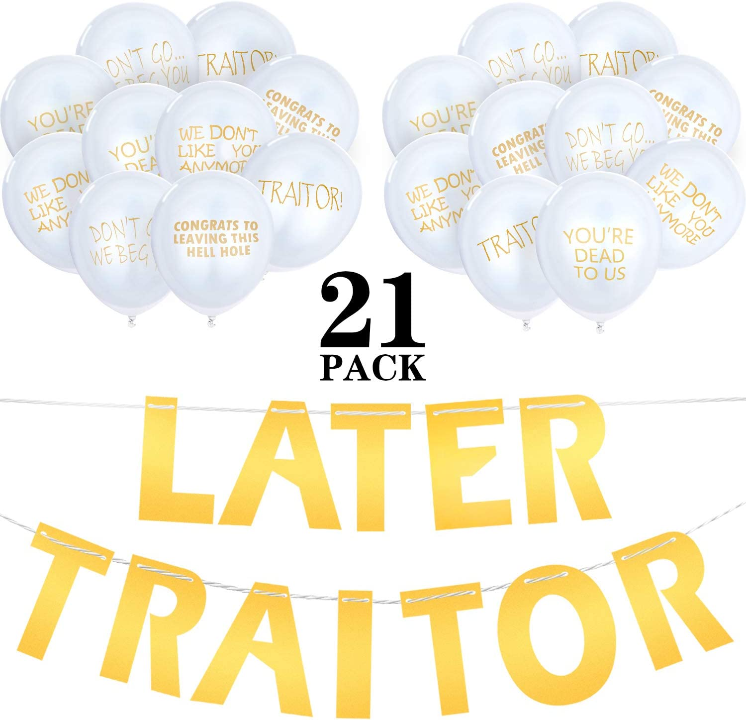 21 Pieces Last Day Office Party Supplies Traitor Banner Coworker Going Away Balloons for Going Away Farewell Retirement Job Change Relocation Quitting Party Decoration (Gold)