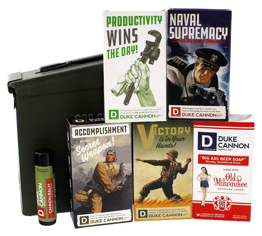 Duke Cannon Ammo Can Men's Gift Set: WWII Big Brick Soap + Cannon Balm Tactical Lip Protectant in Military Field Box