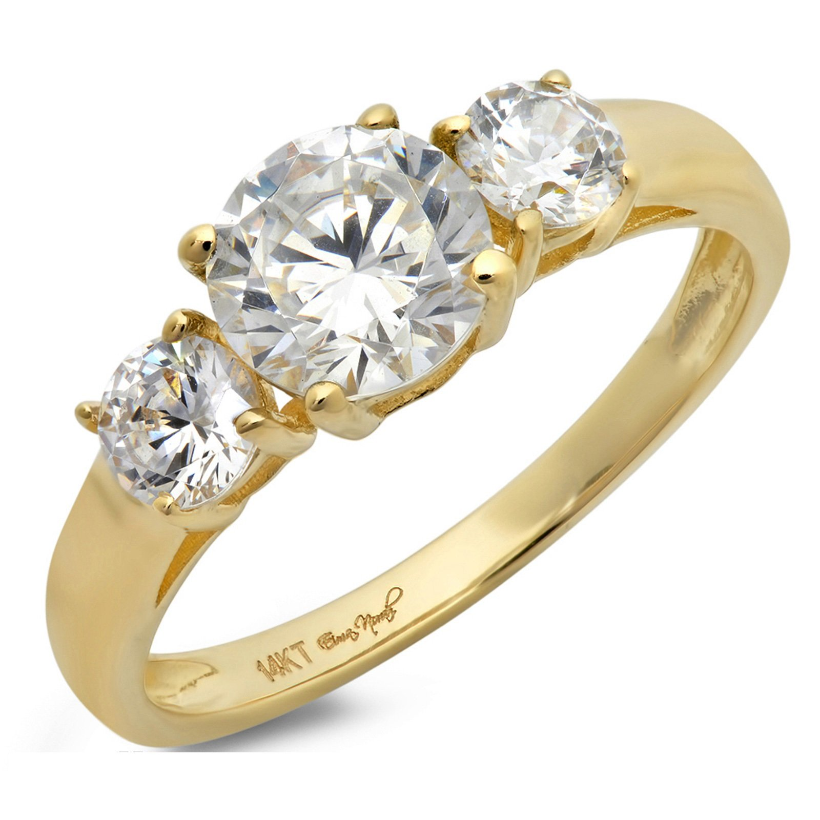 Clara Pucci 1.50 CT Round Cut Simulated Diamond CZ Solitaire Three Stone Ring 14K Yellow Gold Engagement Wedding Band, Size 6.25 by Clara Pucci