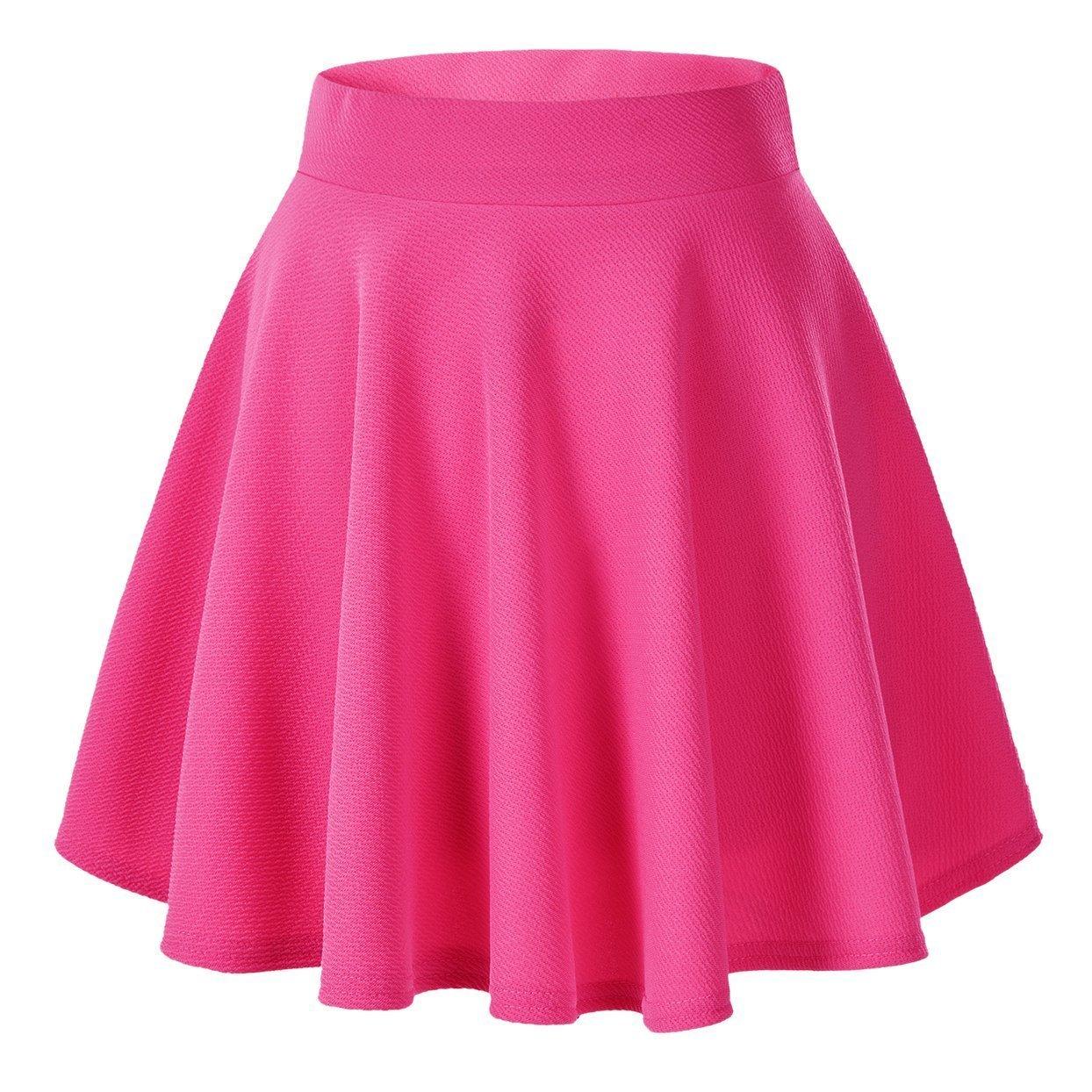 Afibi Girls Casual Mini Stretch Waist Flared Plain Pleated Skater Dress (Coral)