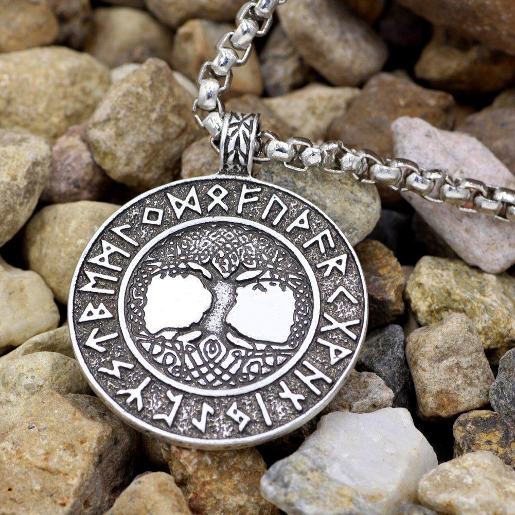 NBKING Norse Vikings Amulet The Tree of Life Runes Talisman Pendant Necklace