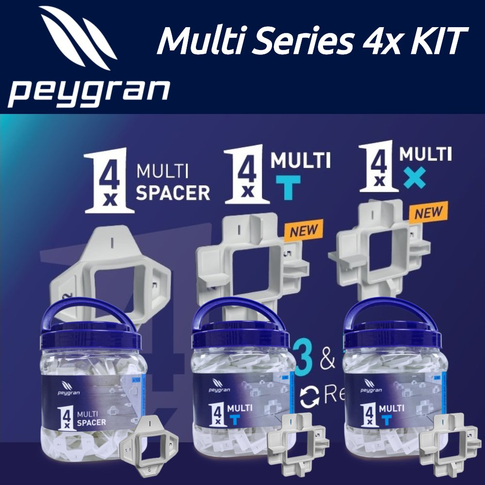 Peygran Multi Spacers 4 sizes in 1 spacer KIT including reusable spacers X, T and line with 4 sizes 5mm (3/16''), 3mm(1/8''), 2mm (1/16'') and 1mm (1/32'')