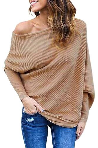 La Mujer De Un Hombro Batwing De Punto Suéter Tops Blusa Camisa