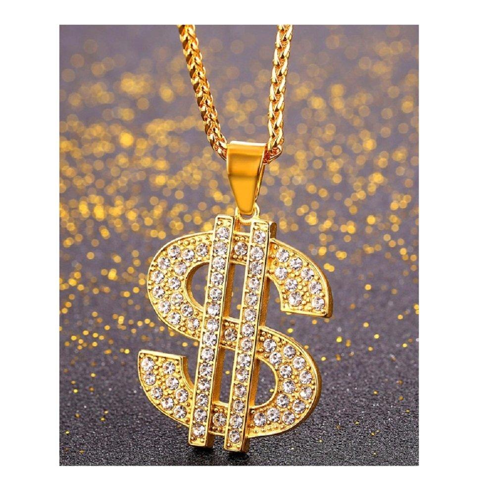 stile rap//hip hop Collana da uomo in oro placcato con ciondolo a forma di dollaro