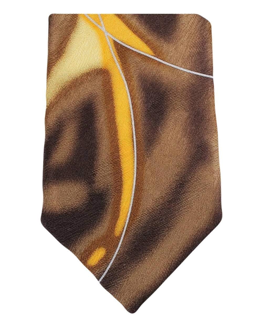Brown//Yellow Knightsbridge Neckwear Mens Water Swirl Pattern Tie