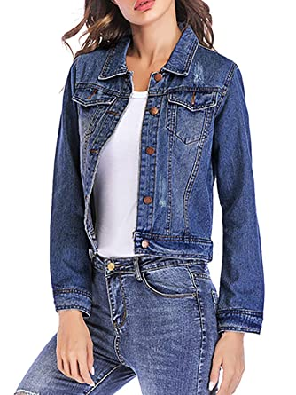 9e19feec259 Beluring Womens Long Sleeve Distressed Denim Jean Vintage Jacket Dark Blue  XS