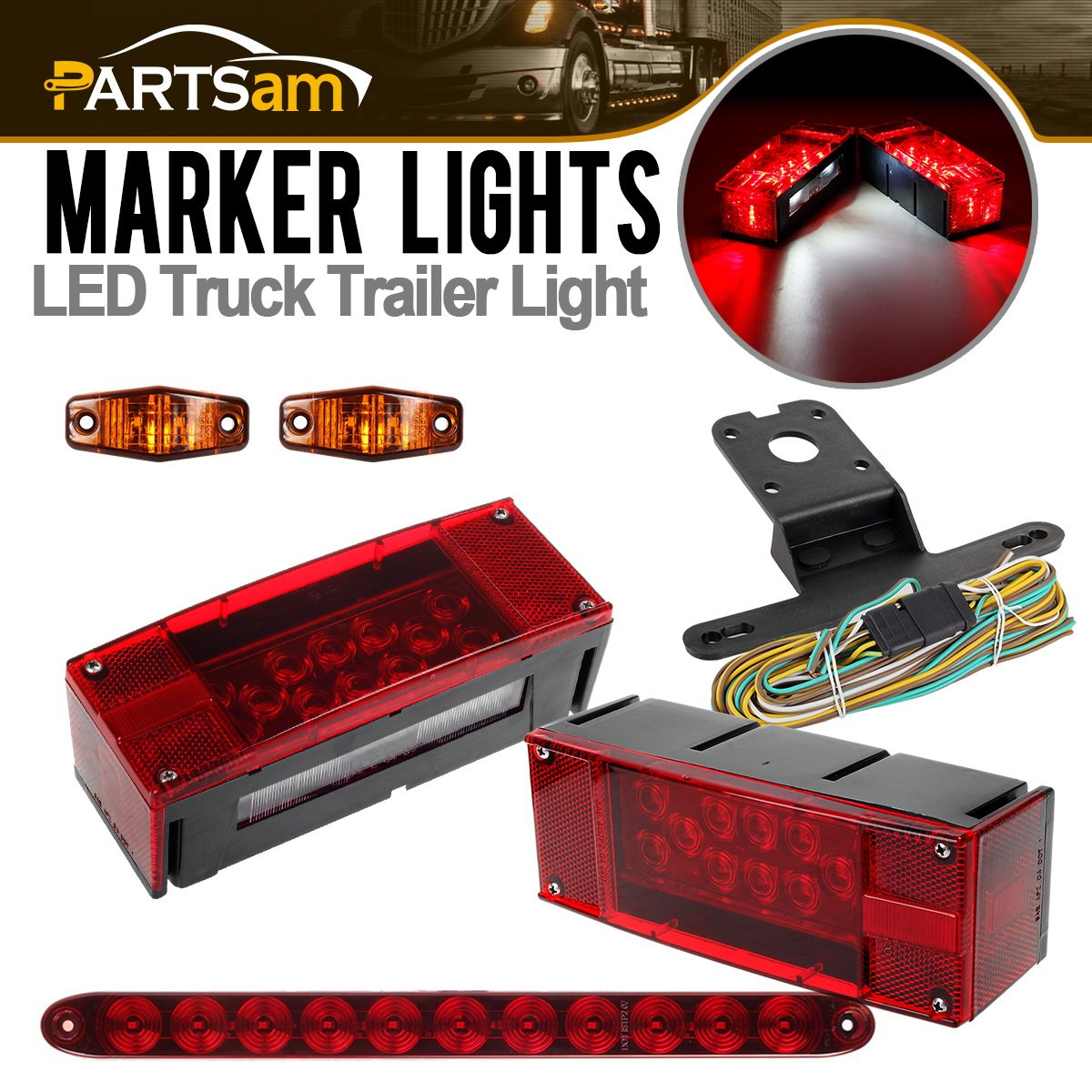 Partsam 12v Submersible Led Rv Truck Trailer Light Kit2xred Dormanr 923009 Right Tail Circuit Board Rectangle Stop Turn