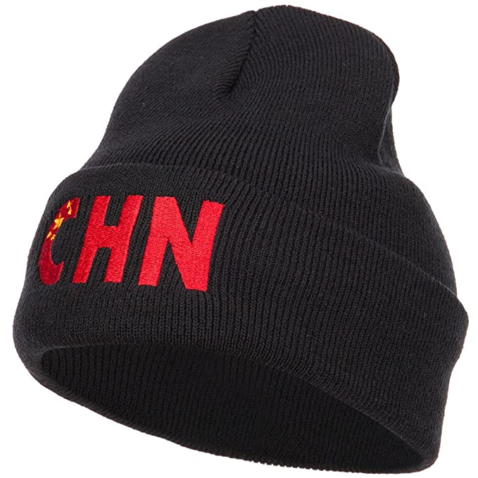 d92fbc3bbb142 Amazon.com  E4hats China CHN Flag Embroidered Long Beanie - Black ...