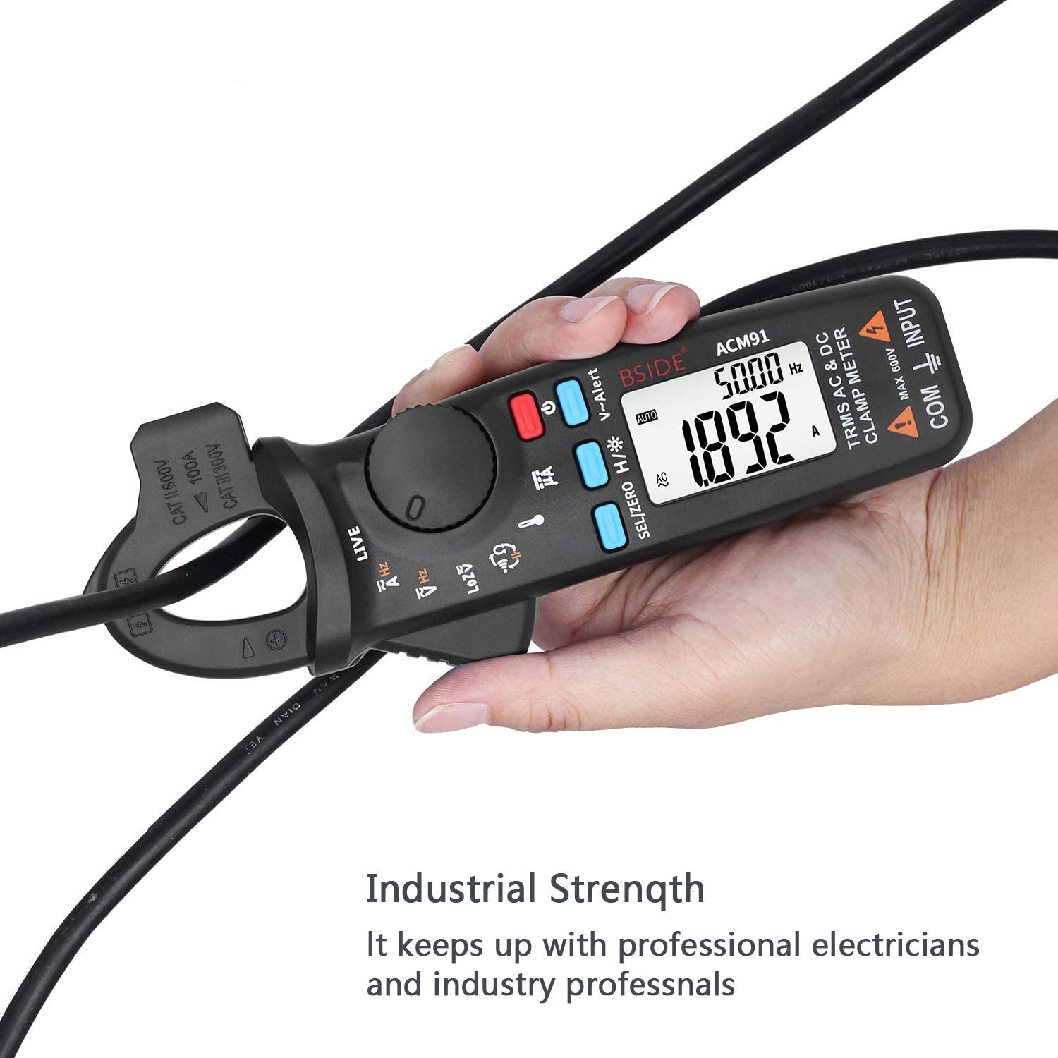 ZGQA-GQA Clamp Meter AC//DC Current TRMS Auto-Ranging 6000 Counts Capacitance Live Check V-Alert Tester with Pocket Clip ACM91