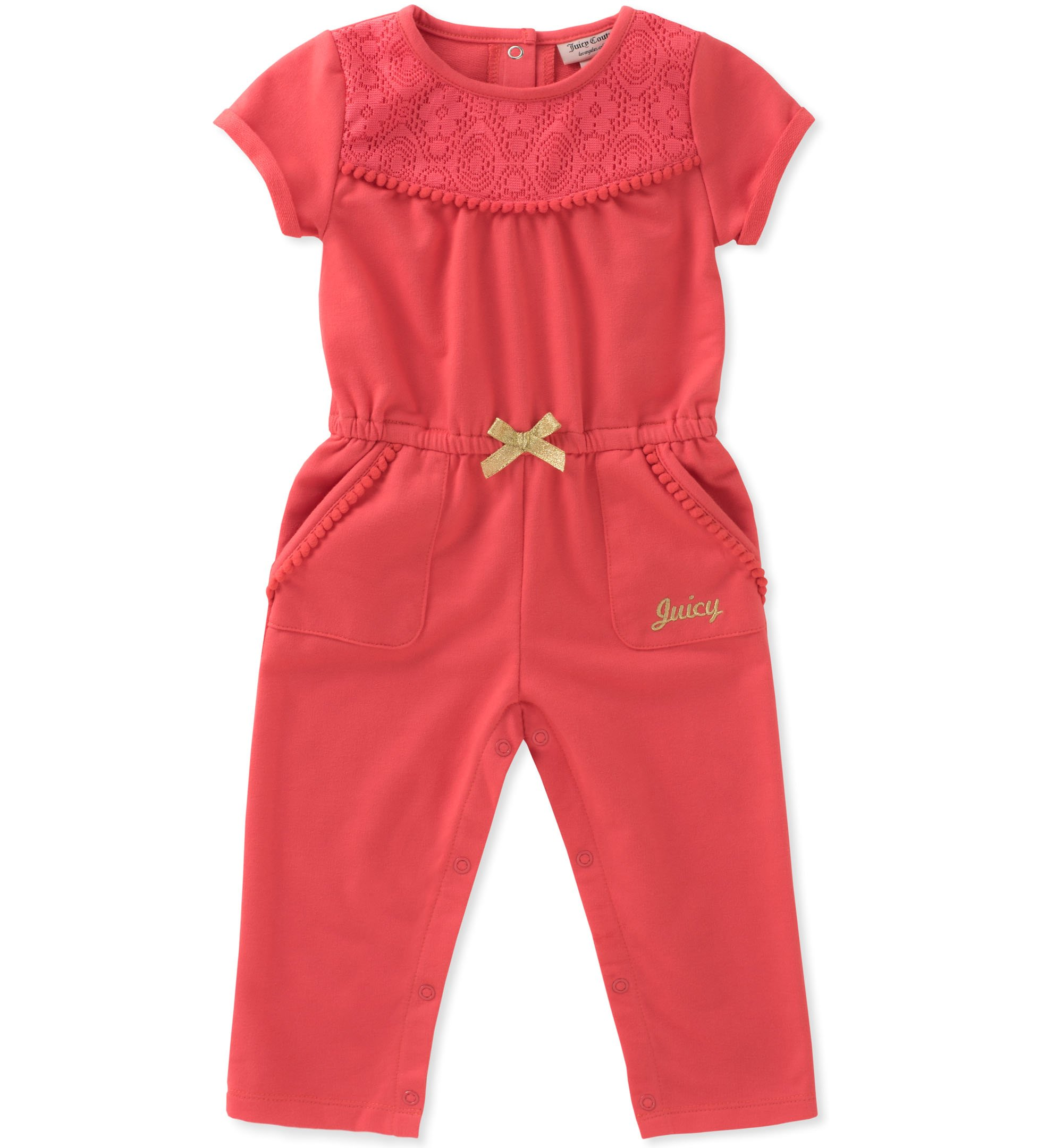 Juicy Couture Baby Girls Jumpsuit, Coral, 12M