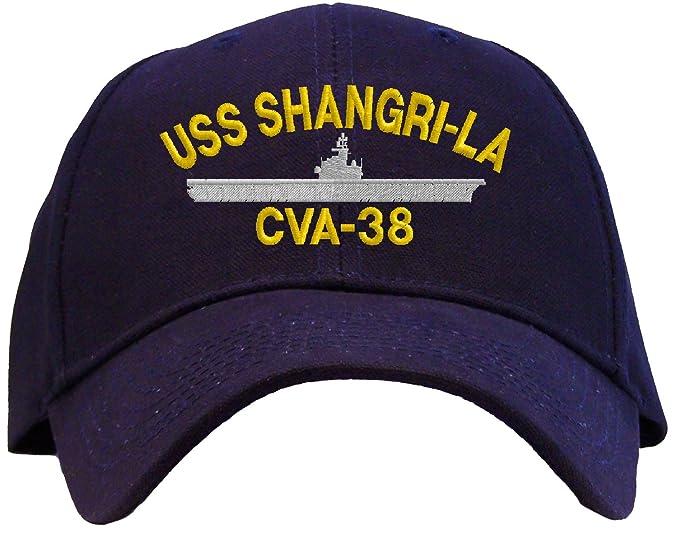 13f6f24d USS Shangri La CVA-38 Embroidered Baseball Cap - Navy Blue