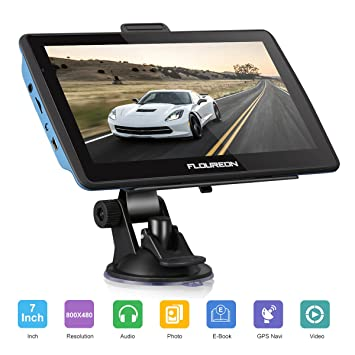 FLOUREON Pantalla táctil LCD capacitiva de 7 Pulgadas de navegación GPS de Coches Navegador de camión y Coche con actualizaciones de mapas de por Vida- ...