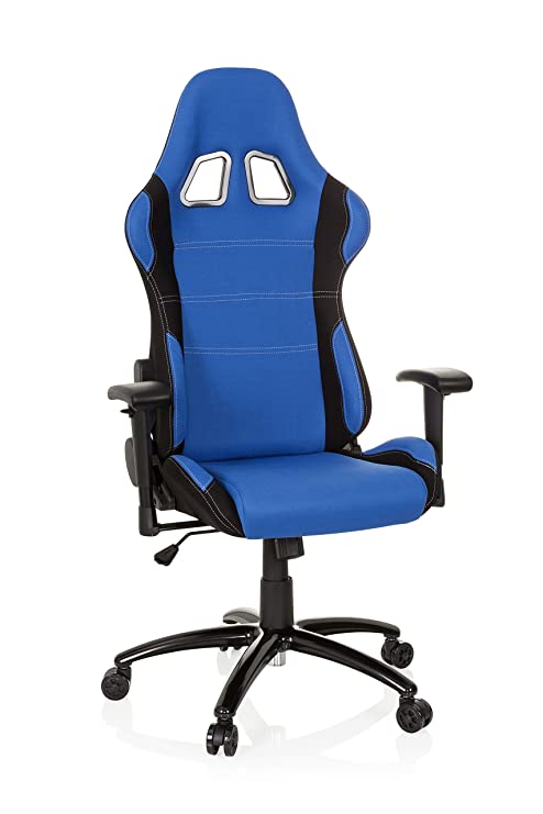 hjh OFFICE 729330 silla gaming GAME FORCE tejido negro / azul silla de oficina reclinable silla