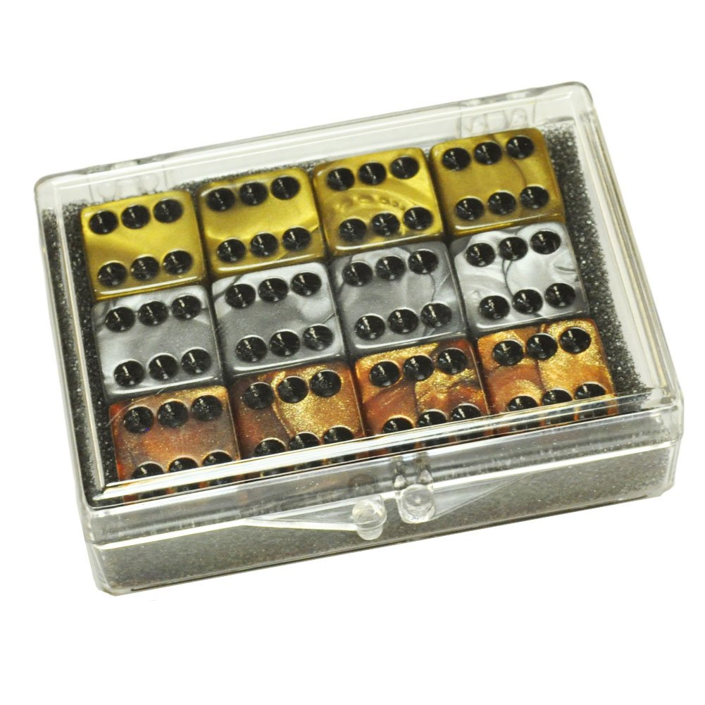 お得セット Set of Set - 12 Olympic Color Marbleized Dice in - Bronze - Silver - Gold - in Acrylic Box B00BMEYD1U, ウジタワラチョウ:91bf0422 --- hohpartnership-com.access.secure-ssl-servers.biz