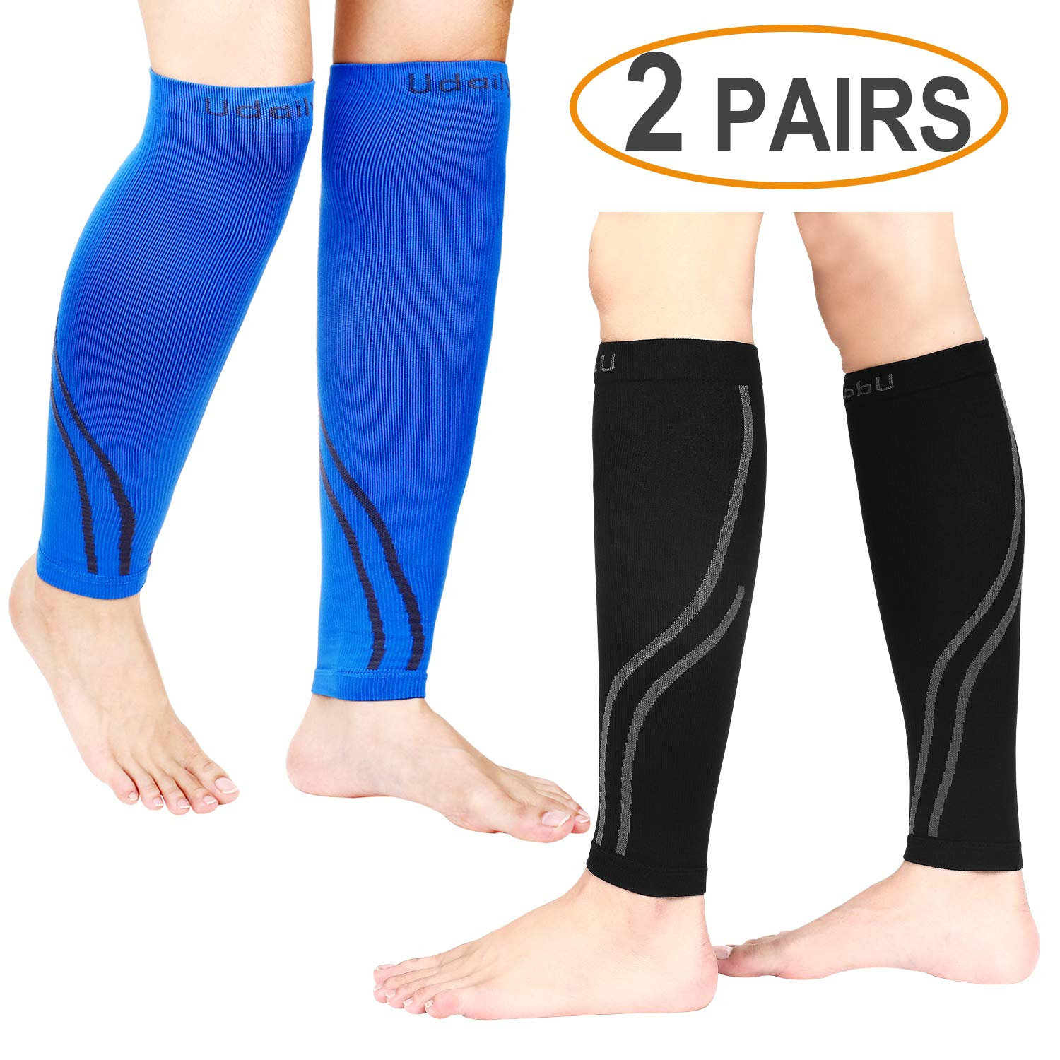Udaily Calf Compression Sleeves for Men & Women (20-30mmhg) (2 Pairs), Calf Support Leg Compression Socks for Shin Splint & Calf Pain Relief, Sports Running Recovery Improves Blood Circulation