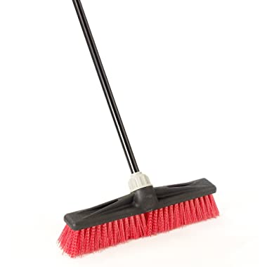 O-Cedar Professional 18  Rough-Surface Push Broom, Red