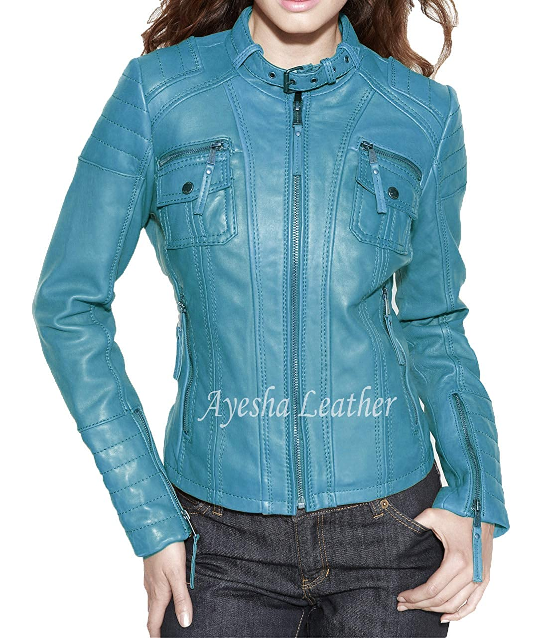 Womens Leather Jacket Stylish Motorcycle Biker Genuine Lambskin 62