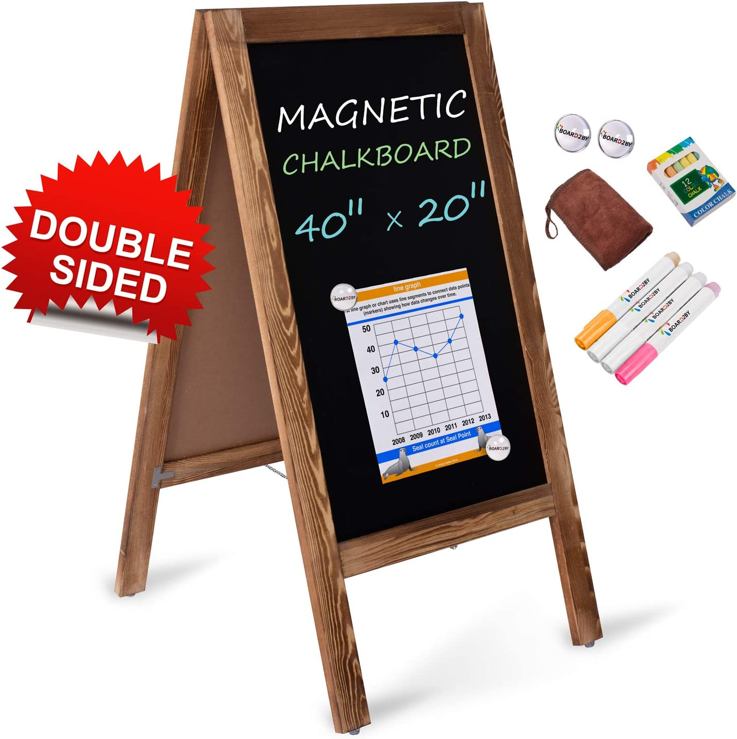 Rustic Brown Business or Wedding Freestanding Chalk Board Easel for Restaurant Board2by Heavy Duty A-Frame Magnetic Chalkboard Sign- 40 X 20 Large Folding Sandwich Board Standing Sidewalk Sign