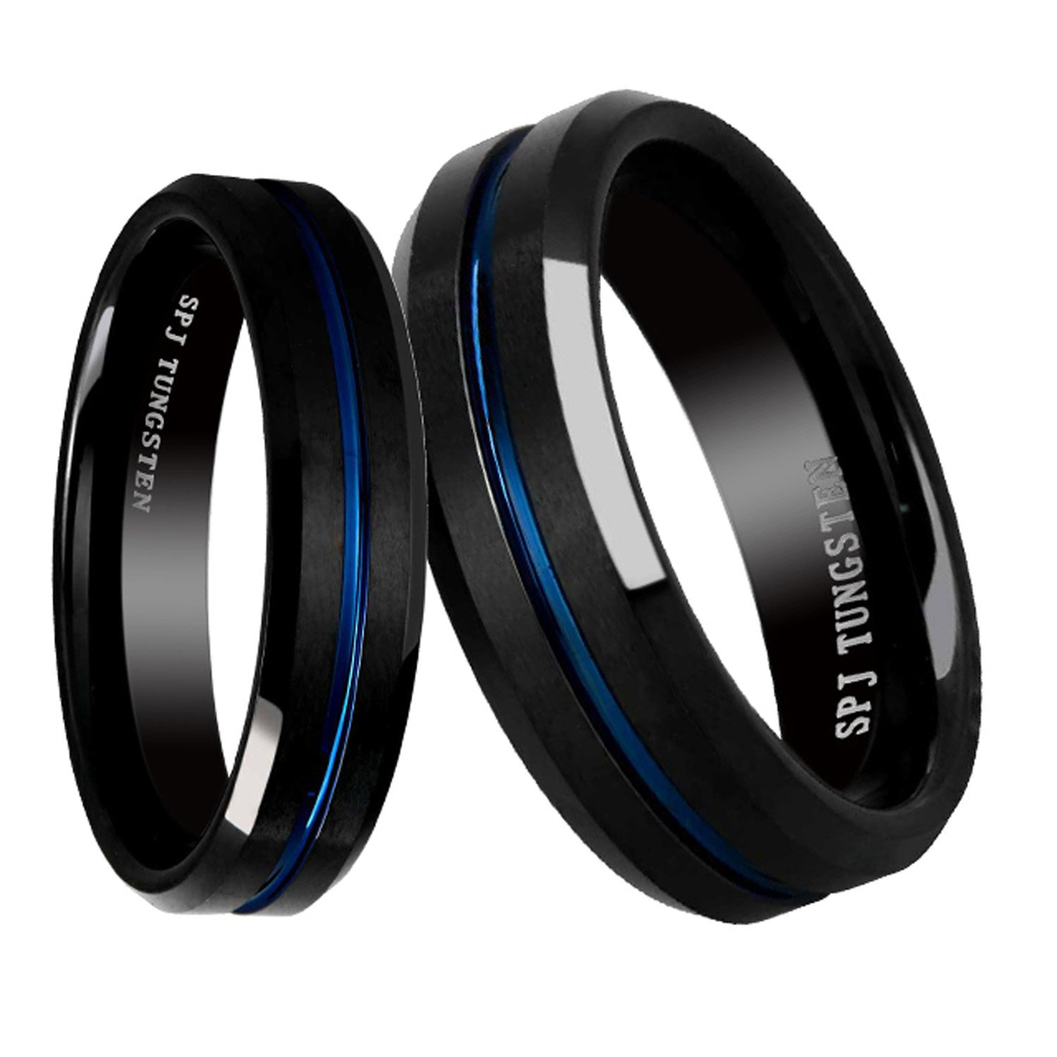 FlameReflection Tungsten His & Hers Engagement & Wedding Ring Sets Blue & Black Brushed Comfort Fit 6/8mm
