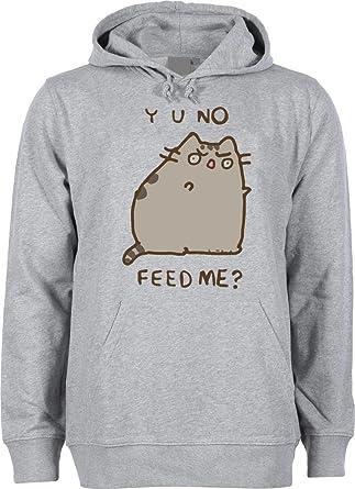 Facebook Pusheen Cat Y U No Feed Me Unisex Hoodie Sweatshirt Large