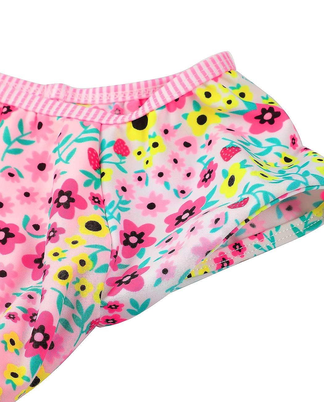 Two Piece Swimsuit Patterned Bathing Suit Short Sleeves Swimming Costume iDrawl Girls Tankini Swimwear