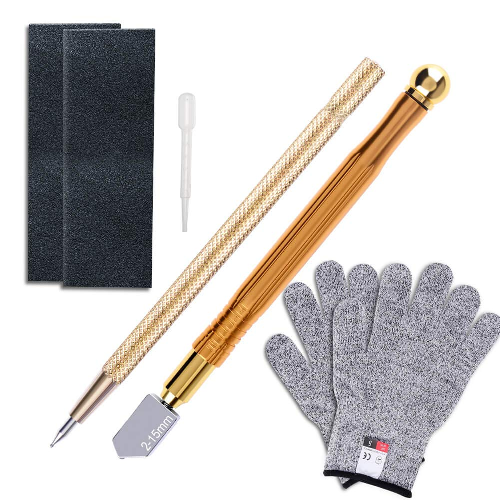 Anezus Glass Cutter Tool with 2-15mm Metal Handle Glass Cutter, Cut Resistant Gloves, Tungsten Scribe Etching Engraving Pen and Sanding Paper for Stained Glass Mosaic Tiles Mirror Cutting