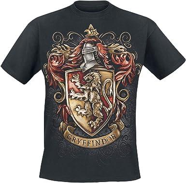 HARRY POTTER Gryffindor- Hauswappen Hombre Camiseta Negro L, 100% algodón, Regular: Amazon.es: Ropa y accesorios
